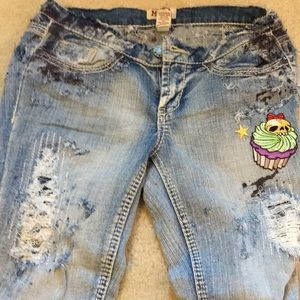 Hand died, patched, torn Mudd jeans
